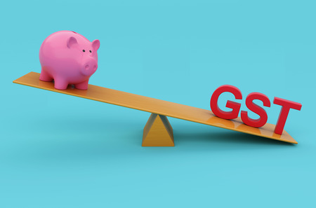 taxpayer: G S T Concept with Piggy Bank - 3D Rendered Image Stock Photo