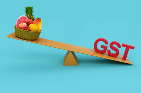 taxpayer: G S T Concept with Fruits - 3D Rendered Image Stock Photo