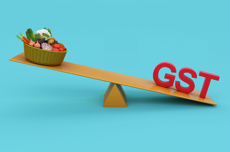 taxpayer: G S T Concept with Vegetables - 3D Rendered Image