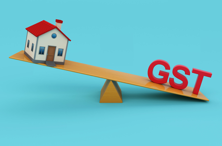 G S T Concept with House Model - 3D Rendered Image
