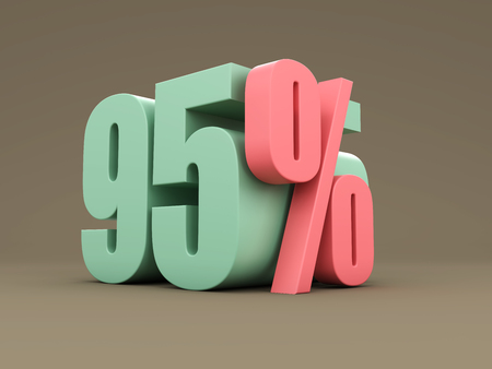 Ninety Five Percent - 3D Rendering Image Stock Photo