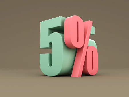 numeric: Five Percent - 3D Rendered Image Stock Photo