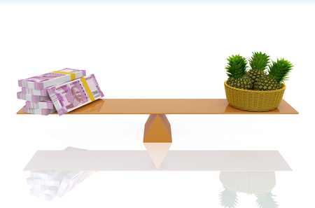 Indian Currency with Pineapples - 3D Rendered Image