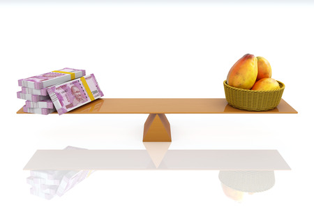 Indian Currency with Papaya - 3D Rendered Image
