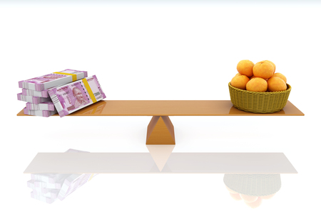 Indian Currency with Oranges - 3D Rendered Image
