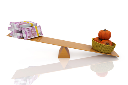 Indian Currency with Pumpkins - 3D Rendered Image Stock Photo