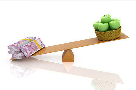Indian Currency with Green Apple - 3D Rendered Image