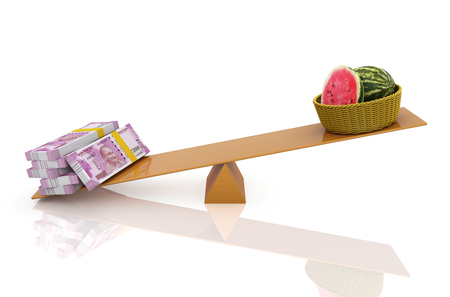 Indian Currency with Watermelon - 3D Rendered Image