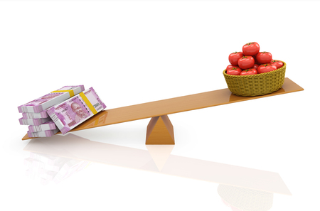 Indian Currency with Tomatoes - 3D Rendered Image