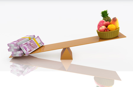 Indian Currency with Fruits - 3D Rendered Image