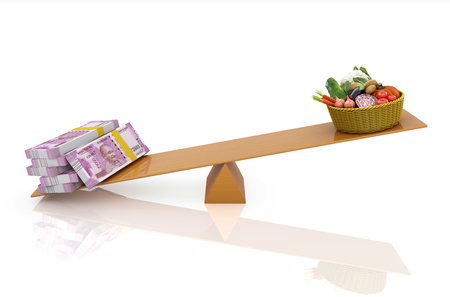 Indian Currency with Vegitables - 3D Rendered Image