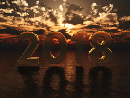 New Year 2018 with Sunrise - 3D Rendered Image