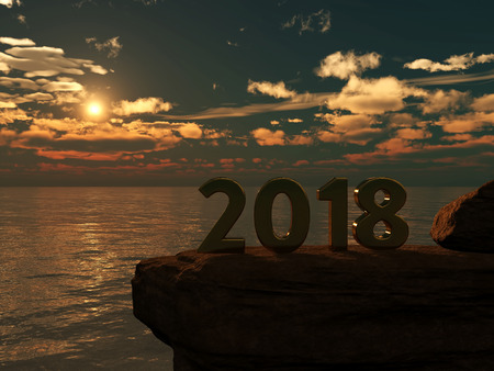 seacoast: New Year 2018 with Sunrise - 3D Rendered Image