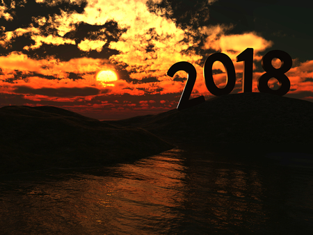 seacoast: New Year 2018 with Mountain - 3D Rendered Image