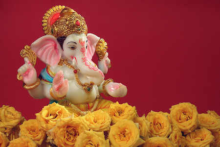 Hindu God Ganesha with Rose Flowers