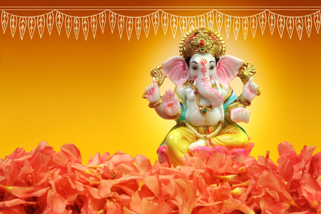 Hindu God Ganesha with oleander flowers
