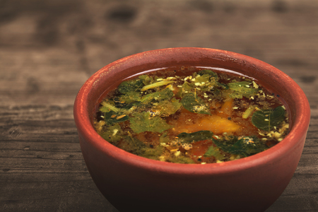South Indian Made Rasam Recipe Stock Photo