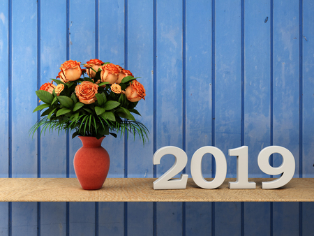New Year 2019 with Flowers - 3D Rendered Image Stock Photo
