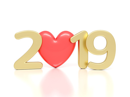 New Year 2019 with Heart Symbol - 3D Rendered Image