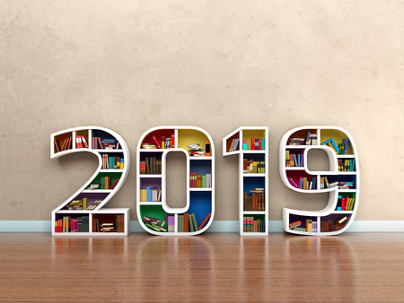 New Year 2019 with Books - 3D Rendered Image Stock Photo