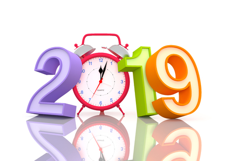 New Year 2019 with Clock - 3D Rendered Image Stockfoto