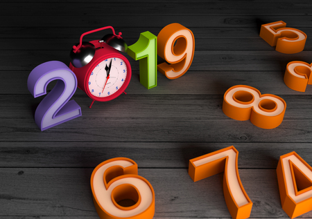 New Year 2019 with Clock - 3D Rendered Image Stock Photo