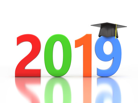 New Year 2019 Creative Design Concept with Graduation cap - 3D Rendered Image Stock Photo
