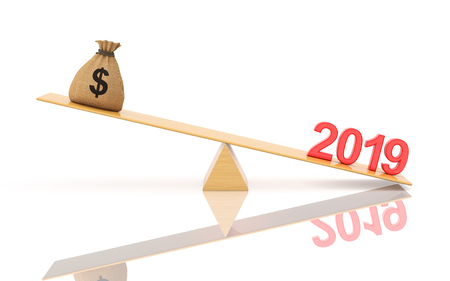 Year 2019 Creative Design Concept with dollar - 3D Rendered Image