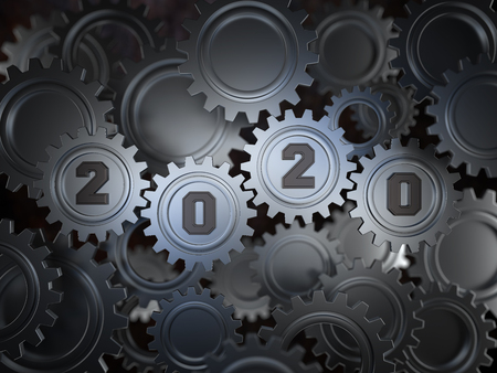 New Year 2020 Creative Design Concept with Gears - 3D Rendered Image Stock Photo