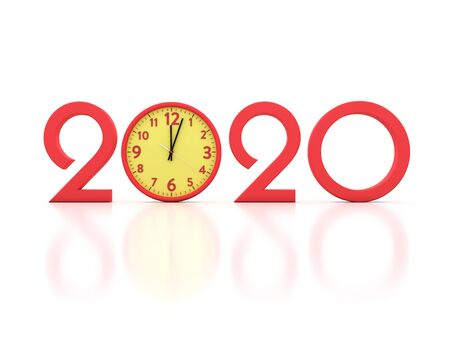 New Year 2020 Creative Design Concept with Clock - 3D Rendered Image Stok Fotoğraf