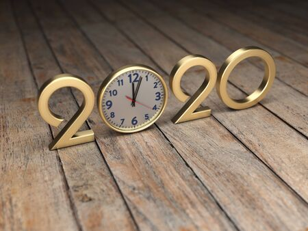 New Year 2020 Creative Design Concept with Clock- 3D Rendered Image 写真素材