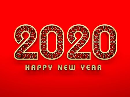 New Year 2020 Creative Design Concept - 3D Rendered Image Stok Fotoğraf - 129500036