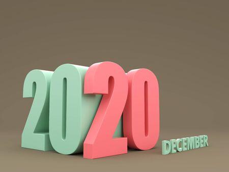 New Year 2020 Creative Design Concept - 3D Rendered Image Archivio Fotografico - 129566045