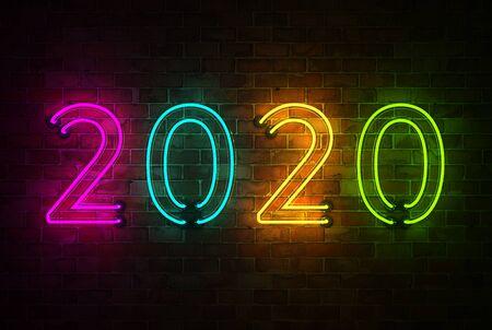 New Year 2020 Creative Design Concept - 3D Rendered Image Archivio Fotografico - 129567088