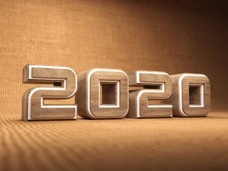 New Year 2020 Creative Design Concept - 3D Rendered Image Archivio Fotografico - 129567092