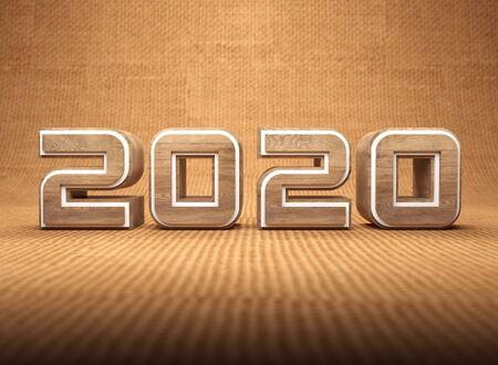 New Year 2020 Creative Design Concept - 3D Rendered Image Archivio Fotografico - 129567093