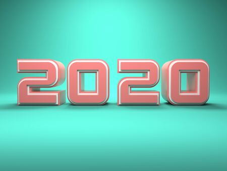New Year 2020 Creative Design Concept - 3D Rendered Image Archivio Fotografico - 129567090