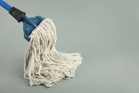 Closeup of Mop on the Gray Background 写真素材 - 129565344