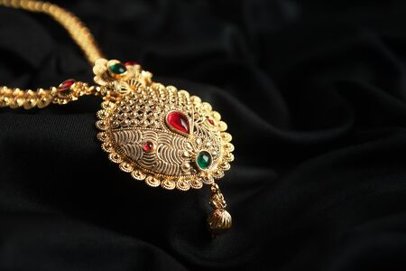 Indian Traditional Gold Necklace with Gemstones