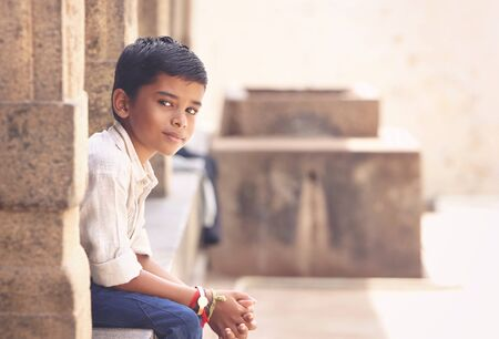 Portrait of Indian Boy Posing to Camera