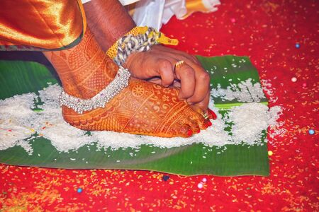 Typical South Indian Hindu Wedding tradition in India Stock Photo