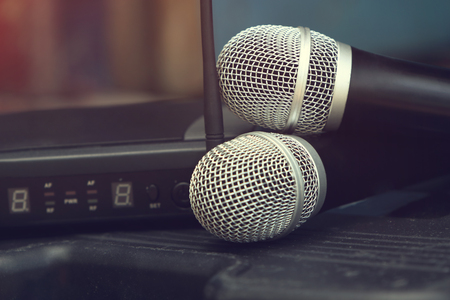 Wireless microphone with Receiver Stock Photo