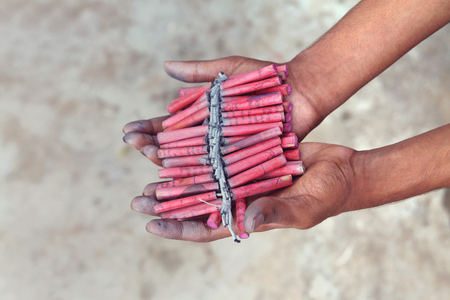 Indian Hand Made Diwali Firecrackers 写真素材