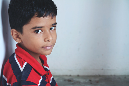 Portrait of Indian Little boy Posing to Camera with Expression
