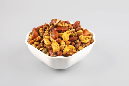 Indian traditional snack mixture with cashew nut and almond