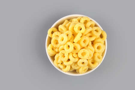 Pile of Cheese crispy Corn ring snack