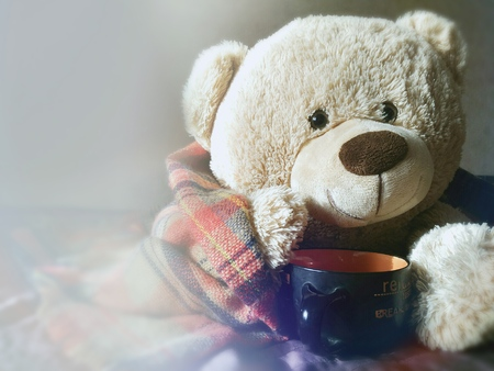 furnishings: Bear rug covered drinking tea. home furnishings Stock Photo