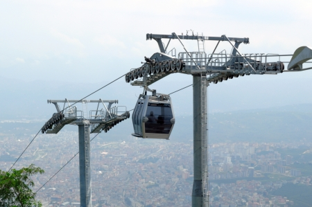 cableway: Cable car and pole in the city of Ordu in Black Sea Region in Turkey