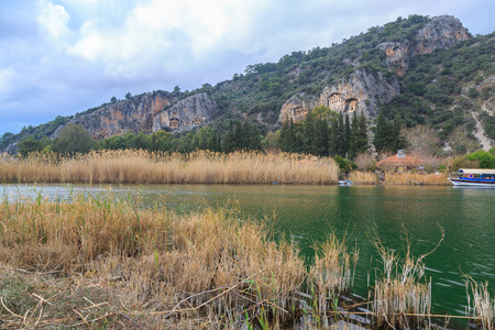 Dalyan river and kings tombs.