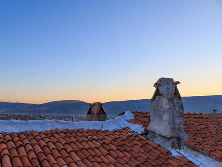 mugla: Famous mugla chimneys in mugla, turkey. Stock Photo